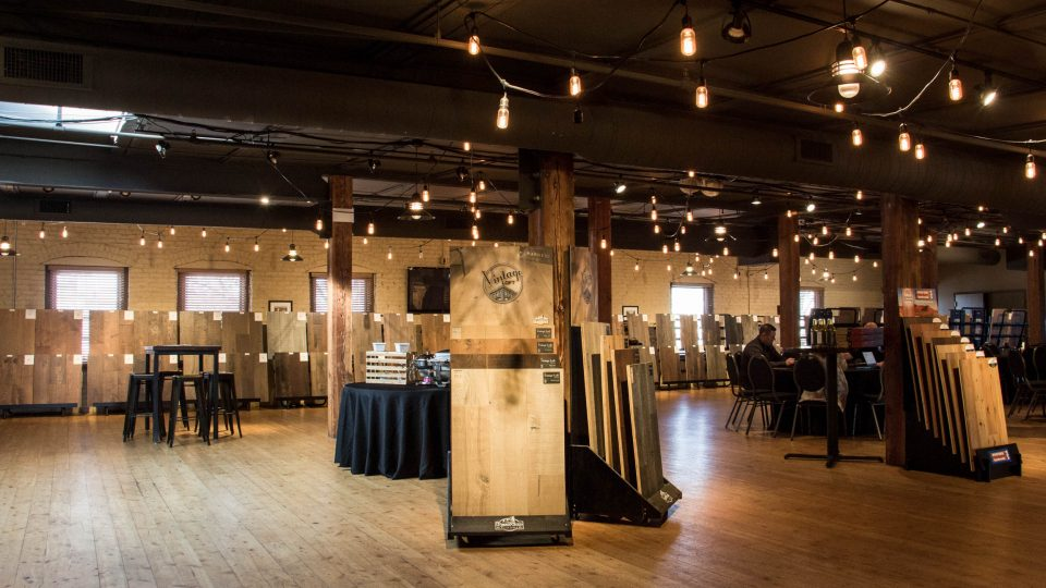 We showed over 100 samples of prefinished flooring to local retailers and designers in the Omaha area at The Old Mattress Factory in Omaha, NE.