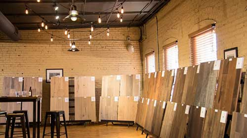 Over 100 new and current samples of prefinished flooring shown at our Omaha open house at Old Mattress Factory in Omaha, NE.