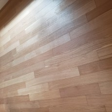 RealWood Floors engineered rift and quartered white oak - Brick and Board Solarium. Installed by trowel glue down over cement in a basement. <br /> <small>Photographer: Abbey Van Horn </small><small>Location: Boulder, Colorado </small><small>Business: Meyer Skidmore & Company </small><br />