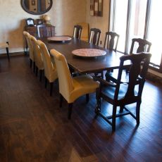 Durango Guinness floor installed in a West Plains home. <br /> <small>Photographer: Katie Knight </small><small>    Location: West Plains, MO </small>