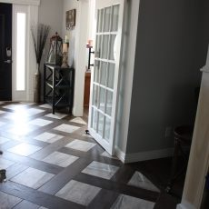 We chose to installed a beautiful porcelain tile in conjunction with the gorgeous Gallery Hermitage on our own personal home. With the beauty of these two together we decided on a patterned entryway that just takes your breath away. <br /> <small>Photographer: Donna Wing / Craig Wing </small><small>Location: Bentonville, AR </small><small>Business: C & D Floor Covering and Renovations LLC </small><br />