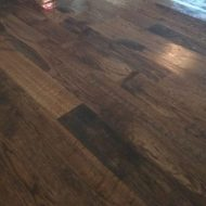 Installation of unfinished red oak. 2 1/4, 3 1/4, and 5 inch planks. 1232 square feet. Stained jacobean. Masterline finish. Duraseal stain.