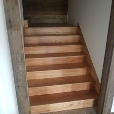 "Installed 5"" #2 red oak flooring in hunting cabin by olsburg, kansas. Also installed skirt boards, landings, treads and risers. <br /> <small>Photographer: Billy Engler </small><small>    Location: Olsburg, Kansas </small><small>    Business: Fancy Flooring Hardwood Floors </small><br />"