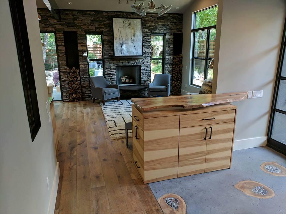 Wide plank prefinished European white oak Palladio wood floor installed in living room