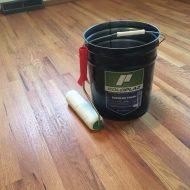 Refinishing red oak floor using Poloplaz polyurethane.