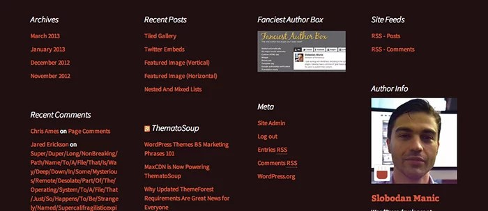Footer widget area in Twenty Thirteen theme