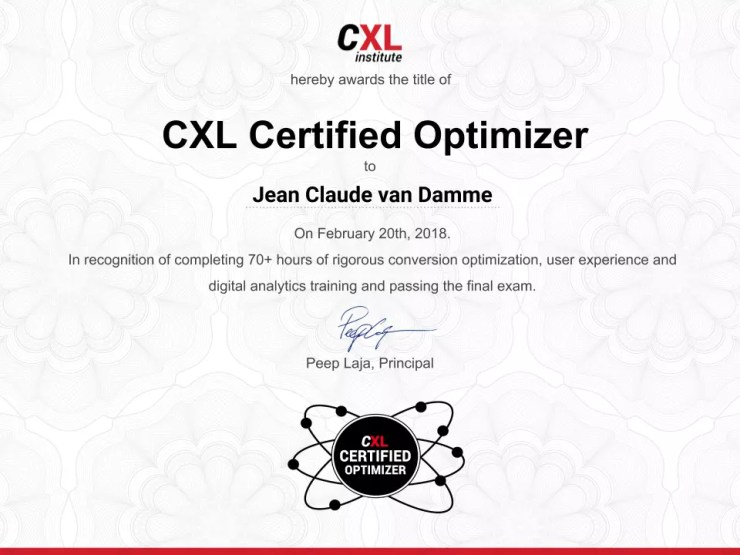 Certified Coversion Optimizer - CXL Institute