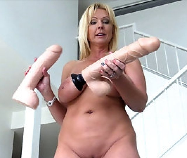 Blonde Mature Cougar Plays With Extra Large Dildo On Sofa