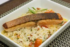 Marinated Salmon with Lemon Risotto