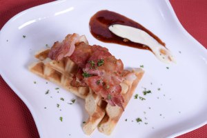 Bacon Waffles and Hoisin Syrup
