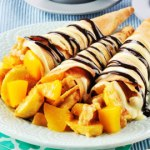 Crispy Crepe Cones with Banana Peach Fillings Recipe