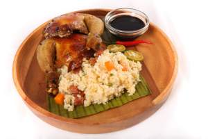 Whole Roast Chicken Inasal With Chorizo Rice Stuffing