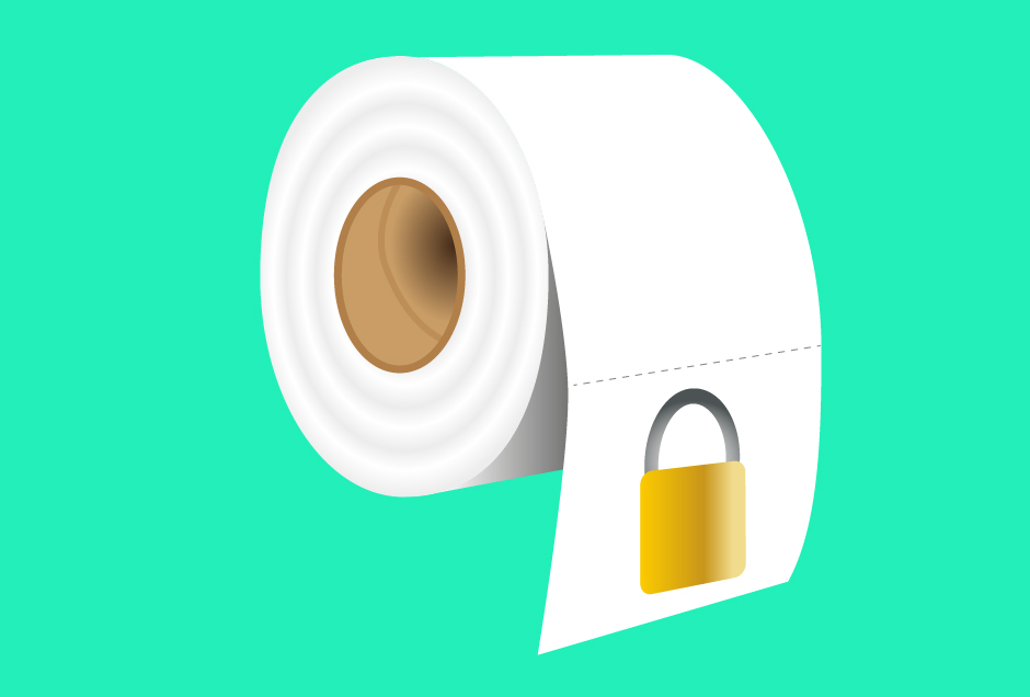 Locked toilet roll