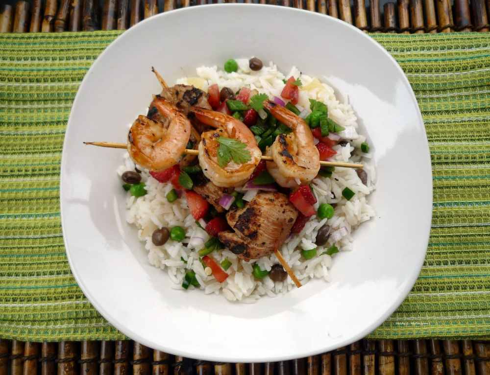 Spicy #Mango Marinated #Chicken and #Shrimp kabob with #Coconut Rice and fruit #salsa