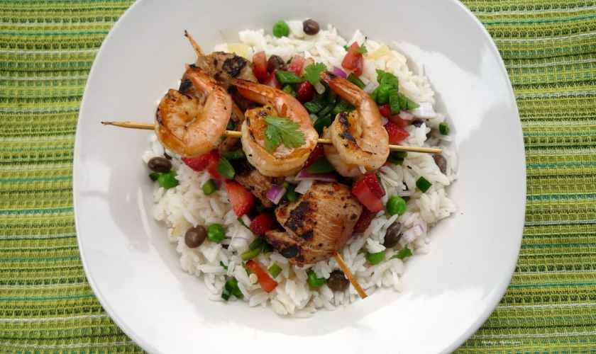 Spicy Mango Shrimp Kebab and Coconut Rice with Fruit Salsa