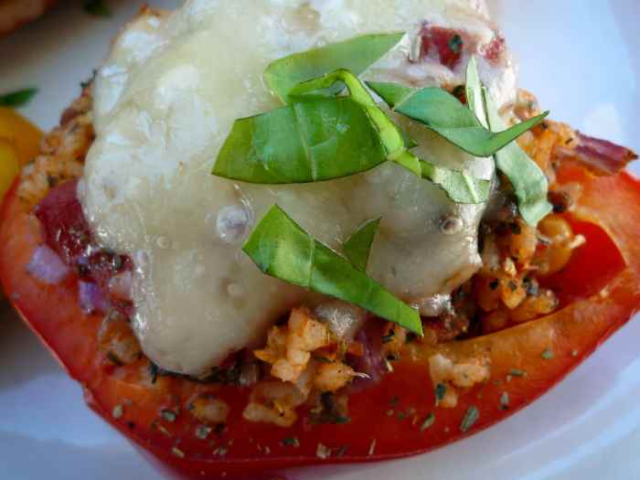 Stuffed #Peppers with #Italian #Sausage and Valencia Rice Topped with Asiago Cheese._ Heidy McCallum 2014