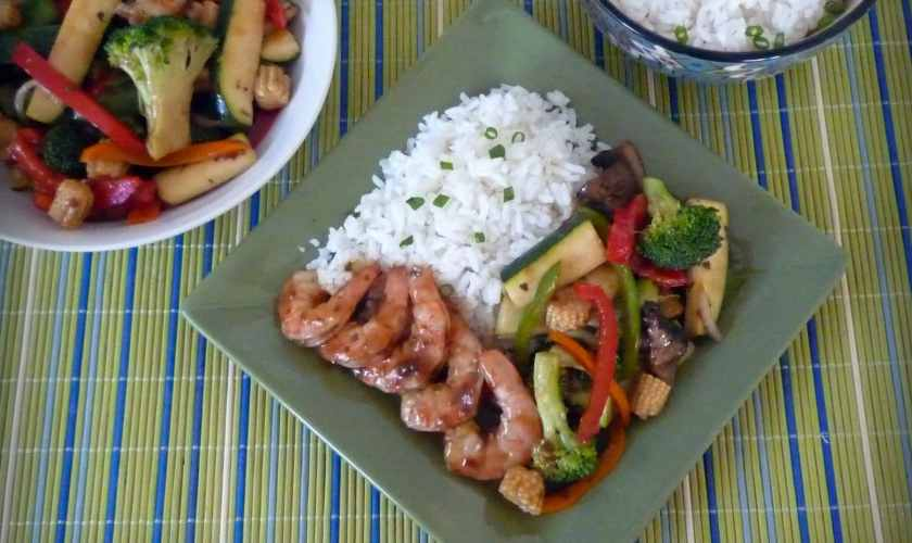 Thai Brown Curry Shrimp with Vegetable Stir Fry