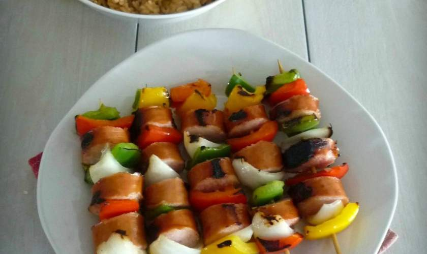 Cajun Kebabs with Bell Peppers & Andouille