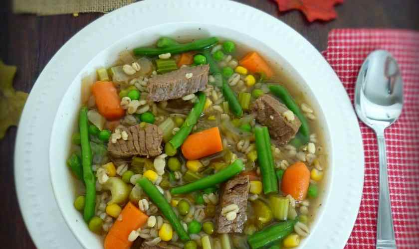 Beer Beef and Barley Vegetable Soup