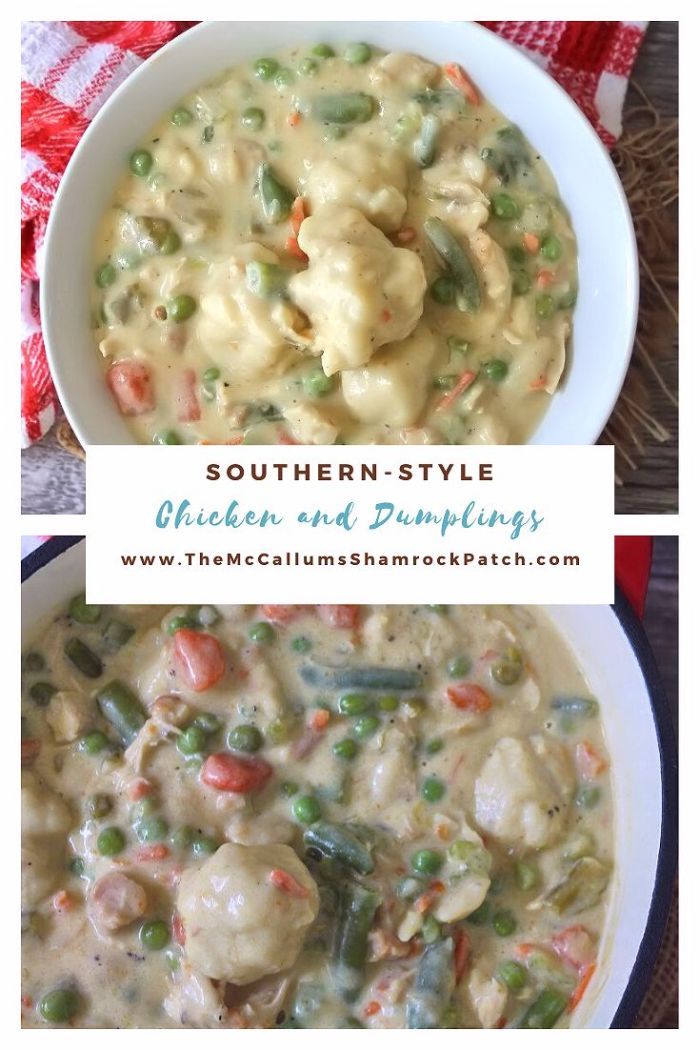 "Southern-Style Chicken and Dumplings has a soothing flavor with a delightful texture of stewed chicken, and delicious homemade dumplings in the thickened broth that will capture any Southern Soul the way Scarlett O'Hara would have liked to have won the dashing Rhett in the famous black and white movie ""Gone With the Wind."""
