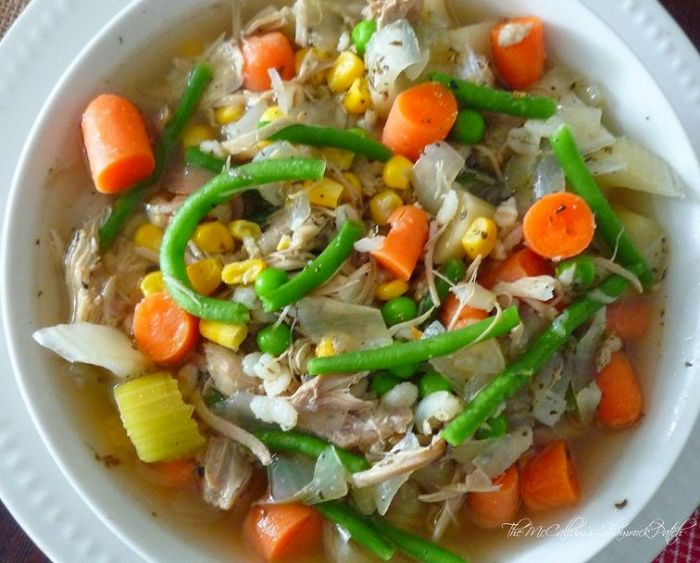 My Flavorful belly-warming winter recipe for Beer, Barley, Turkey, and Vegetable Soup is an ode to my recipe for Beer Beef & Barley Vegetable Soup, and I have to say it's just as delicious with a tad fewer calories. It is combining Turkey, Amberbock Beer, Barley, Carrots, Celery, Peas, Green Beans, and Onions with just the right spices to make it the delicious belly-warming soup of the season.