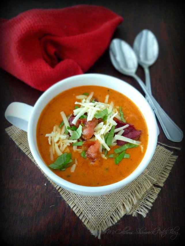 #Tomato #Basil #Soup with #Asiago  and #Bacon