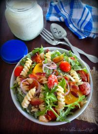BLT Pasta Salad is a flavorful Salad consisting of peppery arugula, corkscrew pasta, thick crisp bacon, sweet, delicious organic yellow cocktail tomatoes, and tiny grape tomatoes, with red onion and a cool ranch dressing that will absolutely amaze your taste buds.