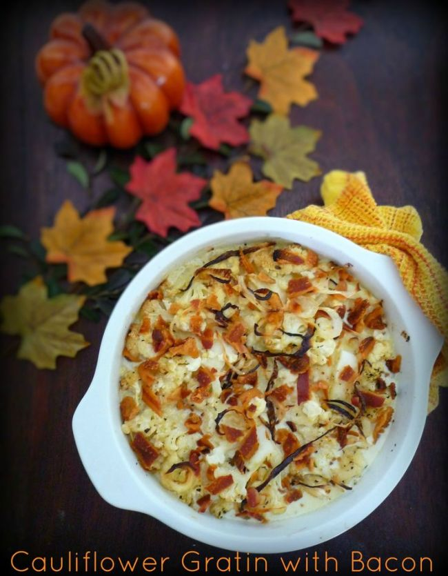 Cauliflower Gratin with Bacon Topping