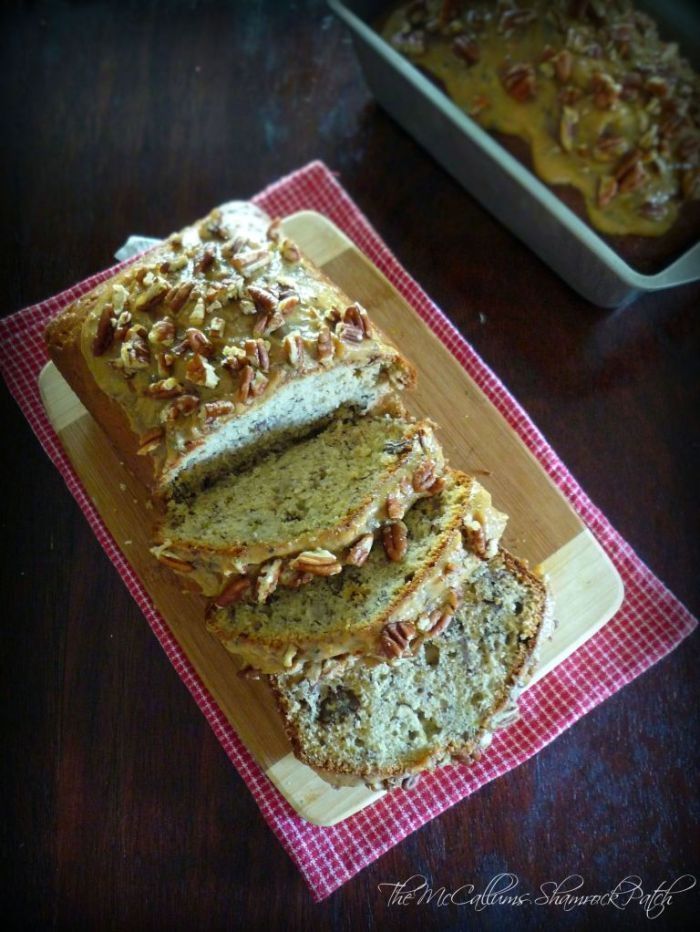There's nothing in this world that comparesto this delicious, moist Southern-Style Banana Pecan Bread that pops with a ton of banana flavor decadently smothered with Homemade Caramel icing and chopped Georgia pecans.