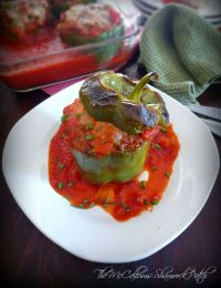 Cajun beef and quinoa stuffed peppers