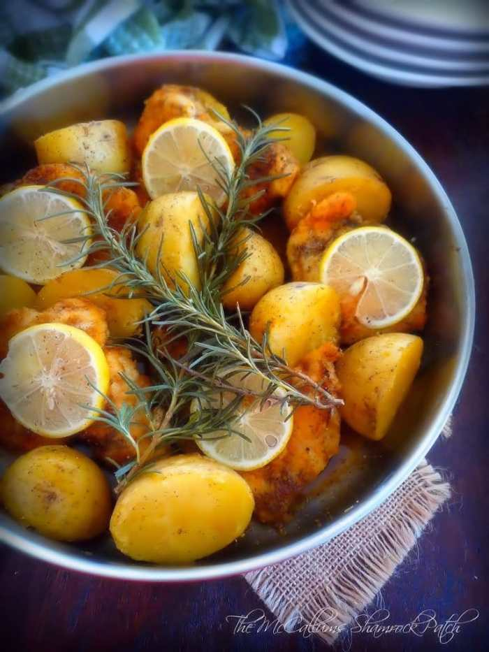 Italian Lemon Rosemary Chicken is a simple dish with simple to find ingredients of boneless skinless chicken breasts,  lemon slices, fresh-cut Rosemary, white wine and herbs and spices all cooked in one metal skillet from start to finish for less clean-up time