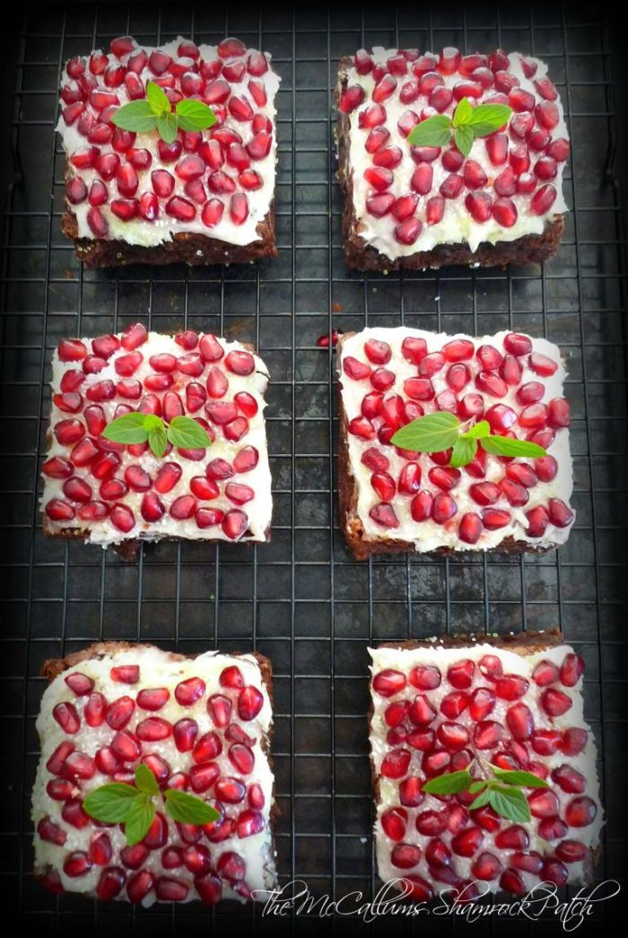 Simple Fudge Brownies with Pomegranate Jewels