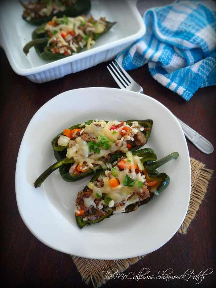 Stuffed Poblano Peppers with Beef and Sausage