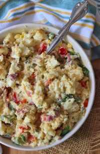 Every Southern Belle takes great pride in her Southern Red Potato Salad, and I add only the best ingredients to mine such as Red Potatoes, real mayonnaise, yellow mustard, dill pickles, green bell peppers, Vidalia onions, crisp green celery, and hard-boiled eggs with a hint of chopped fresh parsley as a garnish, entirely budget-friendly for any gathering or occasion.