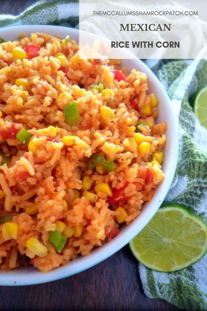Mexican Rice with Corn is a flavorful yet simple and utterly deliciousMexican-Inspired recipe that pairs well with almost any of your favorite Mexican Dishes; combining long grain rice with fresh green bell peppers, red bell peppers, Spanish onion, minced garlic, organic non-GMO corn, and seasoned to perfection with Mexican Spices.