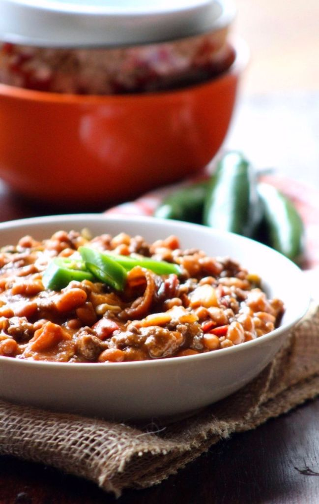 Southern-Style Baked Beans are deliciously sweet yet tangy made with canned pork and beans, thick cut bacon, sweet Vidalia onions, diced green bell peppers, barbecue sauce, ketchup, yellow mustard, brown sugar, and a touch of organic honey; then baked to perfection in a 350-degree oven until done.
