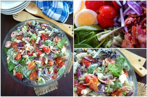 Creamy Spinach and Bacon Pasta Salad is so simple to make; it takes about 20 minutes from start to finish to have you out of the kitchen in no time flat. Made with fresh spinach, artesian lettuce, crisp hickory smoked bacon, grape tomatoes, hard-boiled eggs, red salad onions and a creamy pasta.