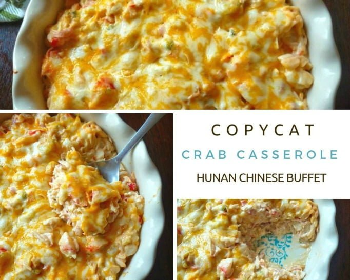 Copycat Crab Casserole from Hunan Chinese Buffet is a combination of crabmeat, cabbage, celery, sweet red bell peppers, mild cheddar cheese, cream cheese, sour cream, mayo, soy sauce, freshly squeezed lemon juice, and a touch of seasoning. The Copycat Crab Casserole from Hunan Chinese Buffet is then baked to a bubbly perfection in a 350-degree oven for about 30 minutes.