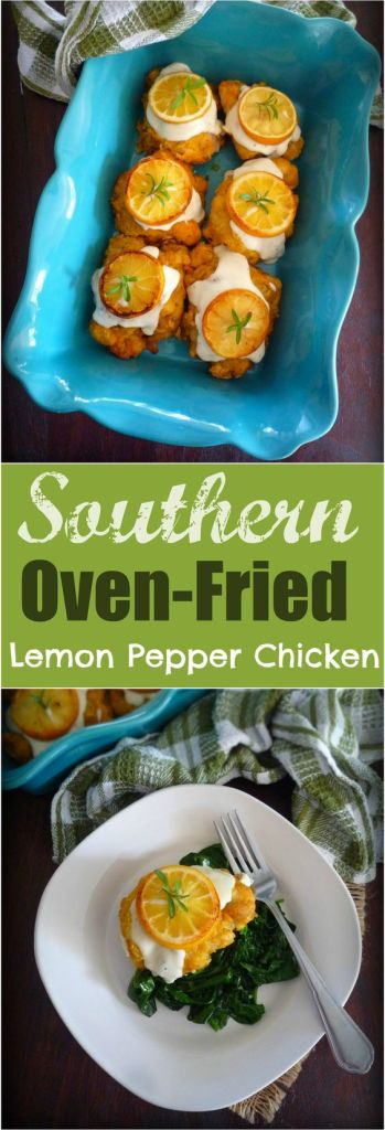 Southern Oven-Fried Lemony Pepper Chicken is the best of both worlds, juicy boneless chicken thighs marinated in freshly squeezed lemon juice, buttermilk, seasoned to perfection with a delicious homemade lemon pepper seasoning, coated with one of the best Southern chicken batters, then smothered in a Lemon and Cream based Gravy made from the perfect roux.