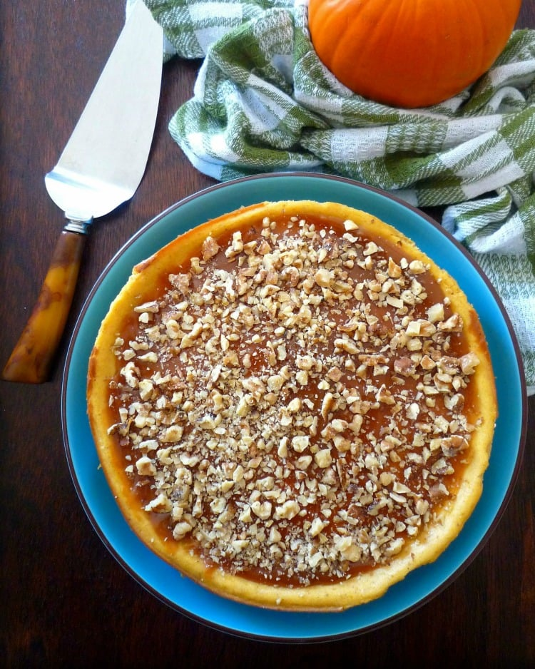 Pumpkin Cheesecake with Caramel and Walnuts has to be one of the best cheesecakes, I have made to this date, with a thick, rich, creamy mixture of cream cheese, pumpkin, caramel, and walnuts that are spiced with nutmeg, ginger, cloves, and allspice, the  texture and taste is perfect in every way.