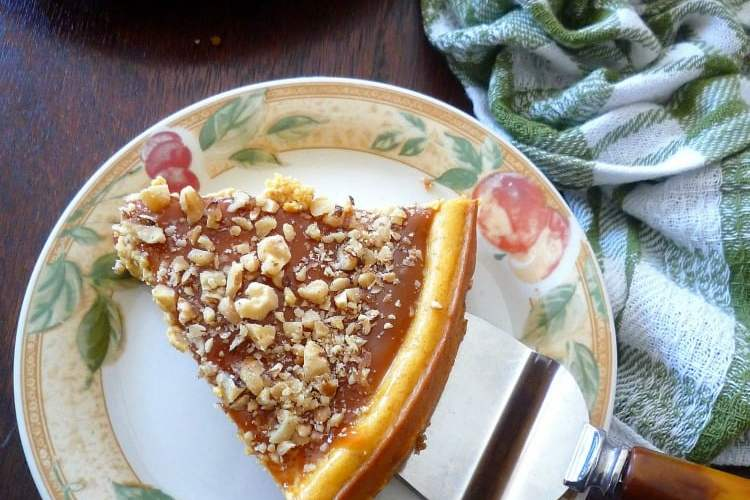 Pumpkin Cheesecake with Caramel and Walnuts