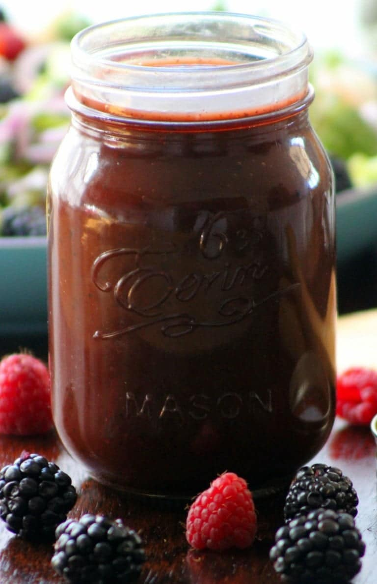 This Fresh Mixed Berry Vinaigrette Recipe is a wonderful leap in the right direction, combining the fresh delightful flavors of fresh raspberries, blackberries, quality balsamic vinegar, garlic, Vidalia onions, pure organic honey, tarragon, and fresh sweet basil.