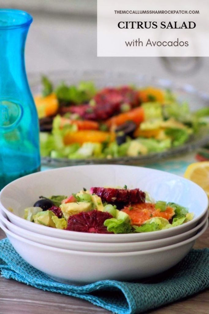 Citrus Salad with Avocados is a wonderfully simple yet refreshing salad, that highlights this seasons beautiful sweet Cara Car oranges, juicy Navel oranges, vibrant Blood oranges, and buttery avocados over a bed of artisan lettuce, topped with Spanish olives and light citrus and olive oil dressing.