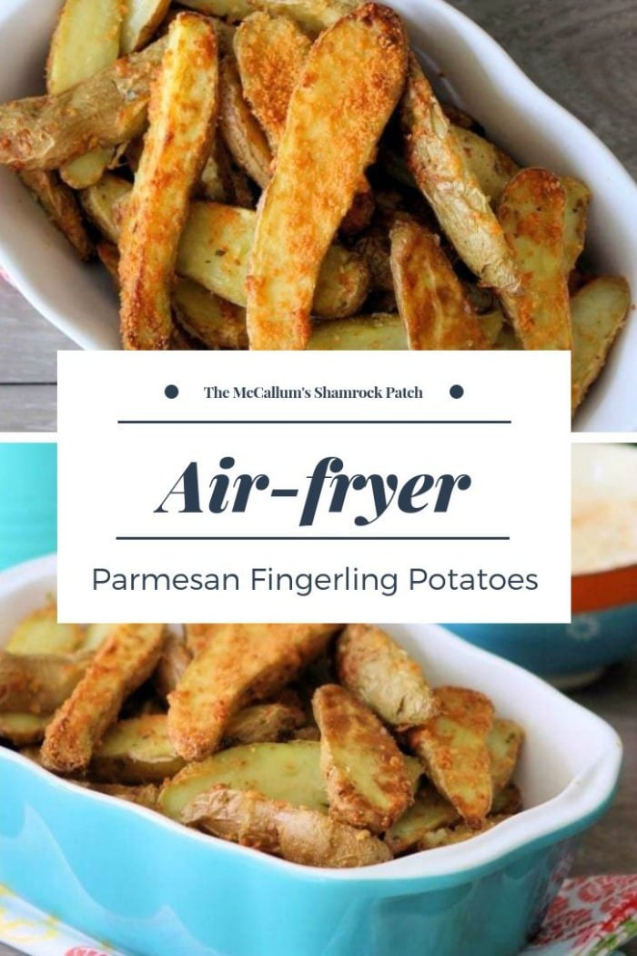 Fabulously crisp Air-fryer Parmesan Fingerling Potatoes are a flavorful, healthy, and a delicious way of making one of our families favorite sides.  Made with fingerling potatoes, Parmesan cheese, Rosemary, olive oil, garlic, lemon zest, and freshly cracked black pepper.