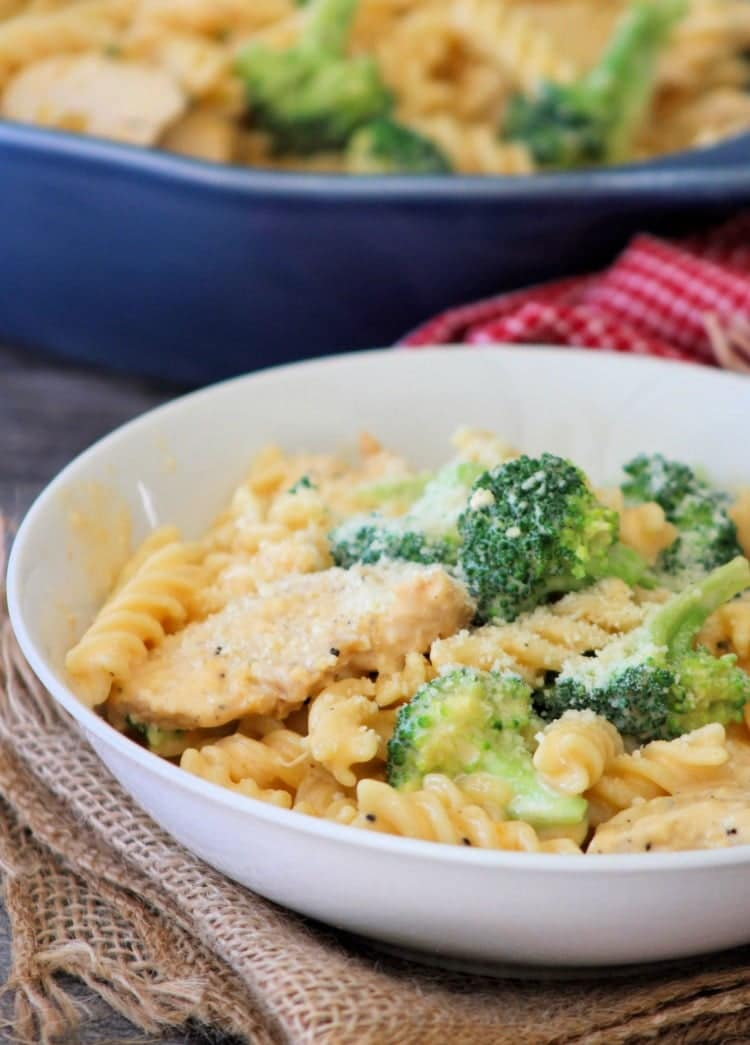 This flavorful creamy Cheesy Chicken and Broccoli Pasta is a cinch to make, which makes it perfect for busy weeknights. Combining a rich tangy cheese sauce with grilled chicken and fresh Broccoli over Rotini Pasta it's going to be your next go-to meal in the dinner rotation.