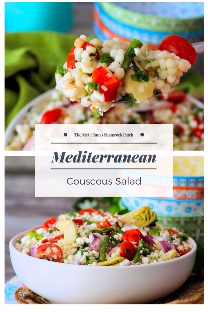 This Mediterranean Couscous Salad is packed with Pearl Couscous, artichoke hearts, tomatoes, red onions, fresh parsley, asparagus, olives, roasted red peppers, Goats Cheese and tossed in a homemade vinaigrette dressing. It's the perfect side dish for any meal, Pot Luck, or gathering.