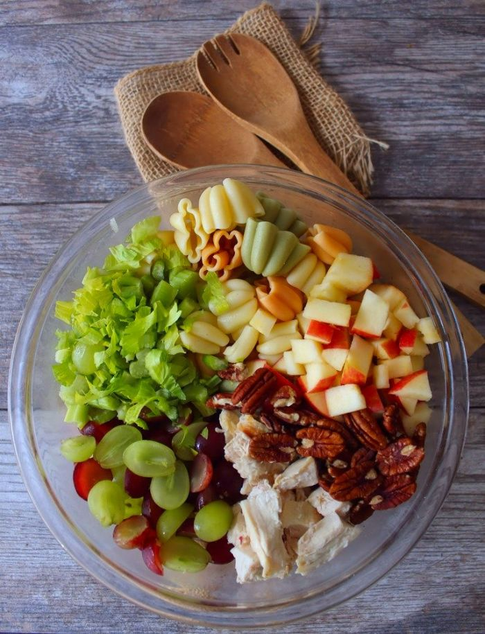 This sweet-and-savory Waldorf Chicken Pasta salad is the perfect lunch or light dinner entrée and can be used as a hearty side dish. Combining the best of three worlds, Waldorf Salad, Grilled Chicken, and Tricolor Pasta for an amazingly flavorful recipe that's perfect for any gathering.