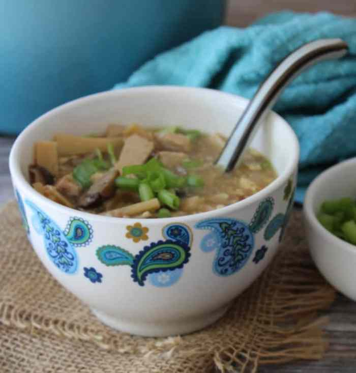 Hot and Sour Soup is the winning combo of savory yet spicy, made with Shiitake mushrooms, bamboo shoots, tofu, and eggs in a flavorful seasoned broth.