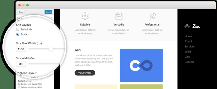 Customizer preview of the X WordPress theme