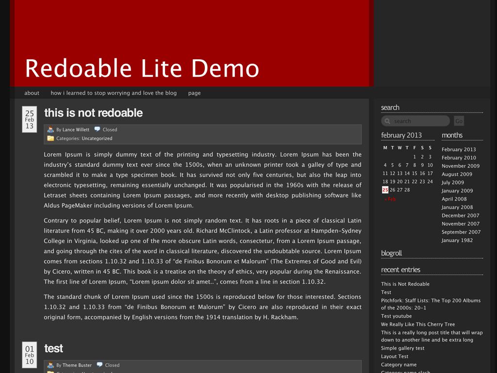 Screenshot of the Redoable Lite theme